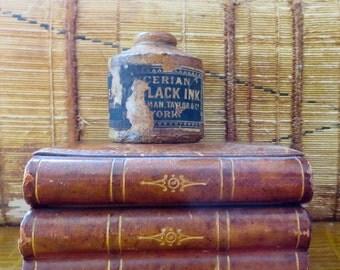 Antique stoneware ink bottle Antique stoneware ink well Antique stoneware container Spencerian ink bottle Ivison Blakeman and Taylor & Co.
