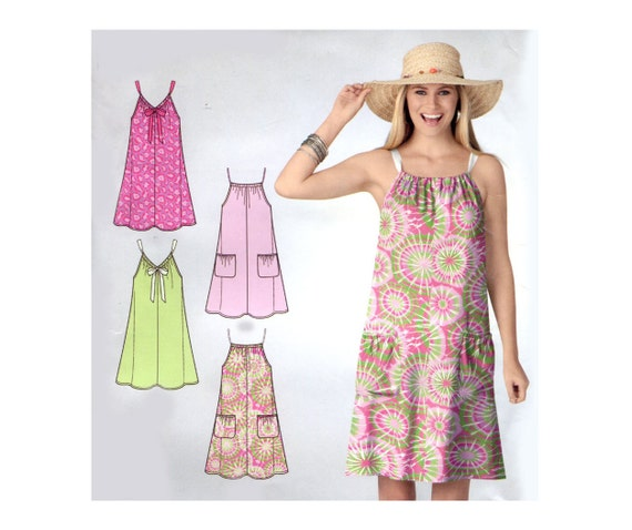 easy summer dress pattern drawstring neck sleeveless beach