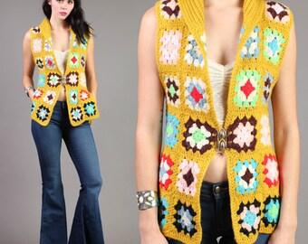 vintage GRANNY SQUARE knit CROCHET afghan sweater vest boho hippie mustard 1970s 70s small medium S M