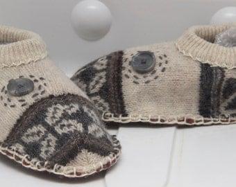 unisex slippers pure wool upcycled  fairisle sweater