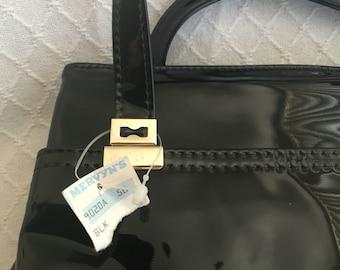 NOS Mervyns vintage patent leather black handbag