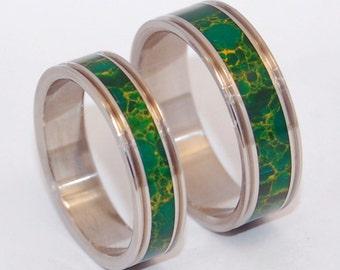 Wedding rings, Inox Steel, Egyptian jade, Eco-friendly ring, Titanium rings, Unique Wedding rings, Unisex - INOX steel CLEOPATRA'S DESIRE