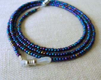 Blue Eyeglass Holder,  Glasses Chain, Eyeglass Lanyard, Eyeware