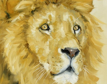Original oil painting - wildlife art  - lion - by UK artist j Payne