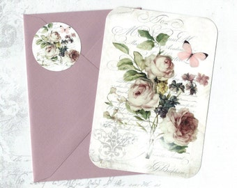 Vintage Roses, Note Cards, Rose Cards, Gift, Stickers, Flat Rose Note Cards