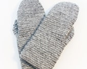 Gray Nalbound Mittens with Leather Grip