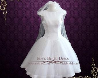 Audrey Hepburn Retro Tea Length Wedding Dress, Vintage Wedding Dress, Short Wedding Dress, White Wedding Dress    Audrey