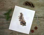 Watercolor Pine Painting-  Original Watercolor- White Pine, Eastern White- Botanical Illustration- 7x9- Woodland, Colorado