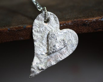 sterling silver lace textured artisan heart double heart pendant, steampunk, bridesmaid gift,