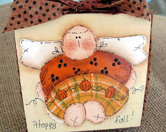 Fall Pumpkin Angel Decoupaged Block|Home Decor|Fall Decor