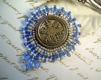 Mid-Century Vintage Beaded Button Brooch With Crystals And Seed Beads In Soft Blue, Silver