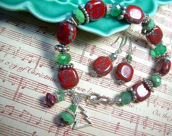 Christmas Picasso Bead Bracelet Sterling Silver Red, Green Matching Earrings Joyeux