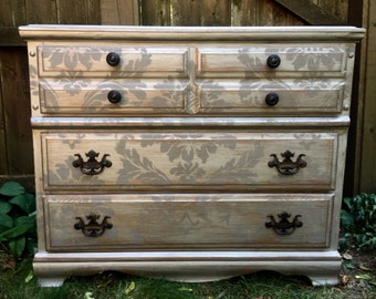 Vintage French Damask Silver Metallic Chest