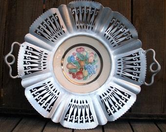 Vintage 1950s FARBER & SHLEVIN Hand Wrought Aluminum Open-work Framed Homer Laughlin Plate