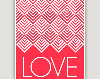 Love Art Print, Valentine decor, Valentine art, red and white decor, foyer art, love gift, red nursery decor, love typography, geometric art