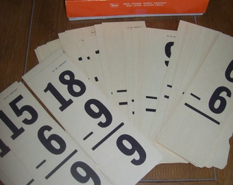Large Vintage Subtraction Flash Cards by Ideal Full Original Box