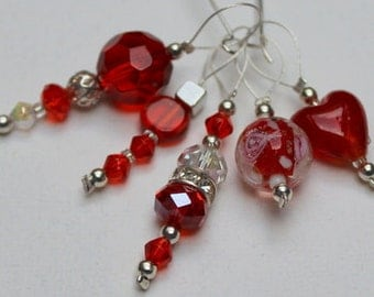 Luxury Beaded Stitch Markers – Ruby reds