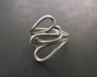 Sterling Silver Intertwined Heart Ring Size 7.5