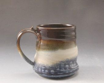 Blue and Brown Mug Handmade Pottery Porcelain by Mark Hudak