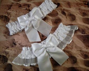 White Satin White Organza Ribbon Wedding Bridal Garter Toss Set