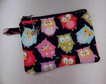 Owl Black Owl Charm Coin Purse Cosmetic Makeup Travel Makeup Bag