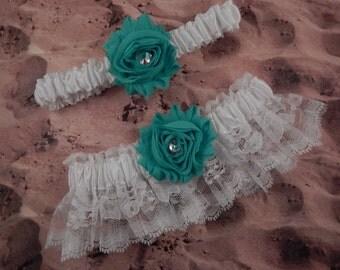 Turquoise Shabby Flower White lace Wedding Bridal Garter Toss Set
