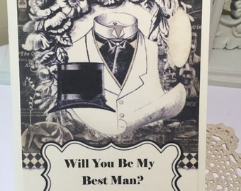 Will You Be My Best Man Wedding Party Cards Bridal Party Black and Ivory Card Groomsman Jr. Groomsman Cards  ECS