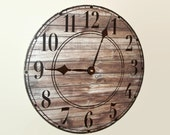 SILENT Rustic Wall Clock with Stenciled Numbers, Reclaimed Wood Image Clock (NOT Real Wood), Rustic Home Decor, Unique Wall Decor - 2019