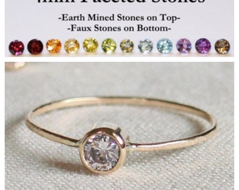 Select a Stone - Delicate Solid 14k Rose or Yellow or White Gold Birthstone Ring - Dainty Gold Birthstone Stacking Ring with Gemstone Option