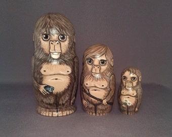 Sasquatch Bigfoot Nesting Dolls Family Set of 3