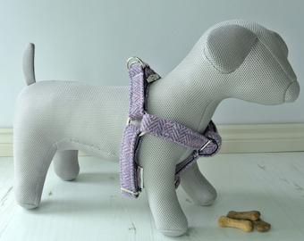 Harris Tweed Dog Harness, step in Harness, purple tweed dog harness