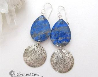 Lapis Silver Earrings, Sterling Silver, Blue Lapis Earrings, Natural Stone, Lapis Lazuli Jewelry, Handmade Silver Jewelry, Blue Earrings