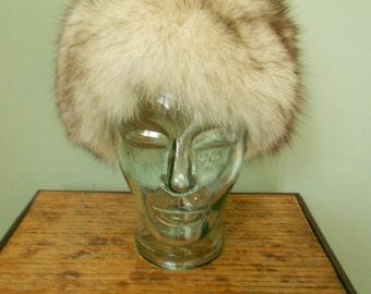 Vintage 1980s Genuine Fox Fur Hat