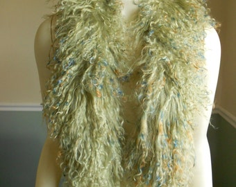 Fur Scarf / Tibetan Mongolian Lamb / 1980s / Green Multi Colored Collar
