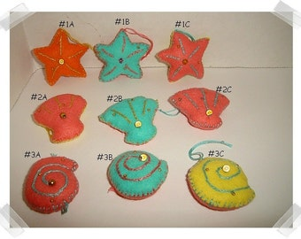 Mini Felt Shell Ornaments/ 3 Choices to pick from*/ Single Or Set of 3/ Handmade/Made to Order**