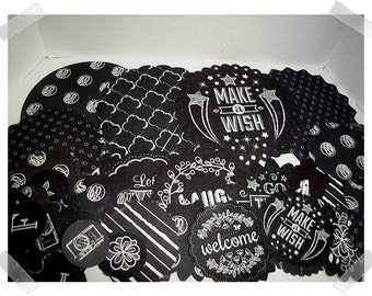 Black/White Paper Round Accents/ over 25 pieces/ Holiday Decor /Craft Supplies/ Only ones*