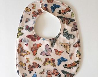 Baby Bib with Organic Cotton. Springtime in Paris. Butterflies. Free Shipping