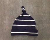 Top Knot Baby Hat - Navy Blue Stripe