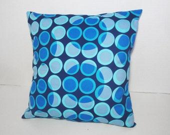 "Blue circles pillow cover, navy blue pillow, light blue periwinkle sham, modern pillow, teen decor, 12x16"", 14"", 16"", 18 inches, custom size"