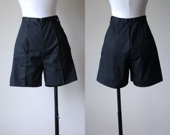 50s Shorts - Vintage 1950s Pinup Shorts - Rare Jet Black High-Waisted Bombshell Cotton Shorts S - Ebony Jet Shorts