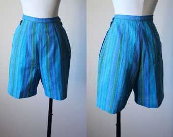 50s Shorts - Vintage 1950s Pinup Shorts - Aqua Blue Olive High-Waisted Bombshell Cotton Shorts S - Poolside Shorts