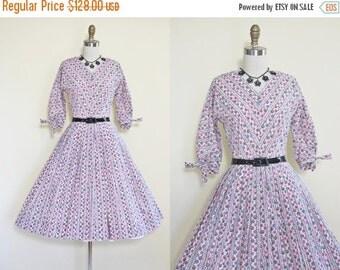 ON SALE 50s Dress - Vintage 1950s Dress - Pink Grey Black Atomic Polka Dot Girly Cotton Full Skirt Dress S M - Forty Winks