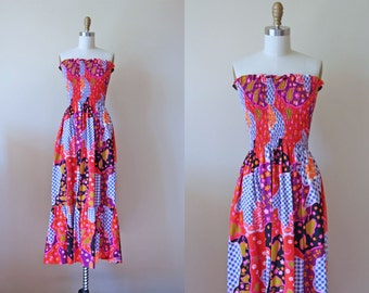 70s Dress - Vintage 1970s Sundress - Acid Brights Floral Patchwork Cotton Strapless Maxi Dress XS S - Electric Koolaid Dress
