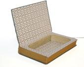 Hollow Book Safe Gold Cloth Bound vintage Secret Compartment Keepsake Box Hidden Security Box