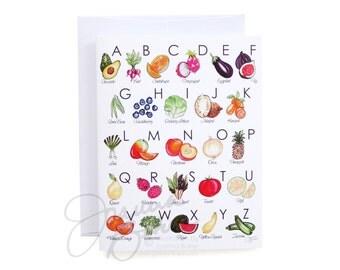 Fruit & Veggie Illustrated Alphabet Folded Note Card / Fruits, Vegetables, Healthnut Note Cards, Alphabet Stationery, Fruit Veggie Alphabet
