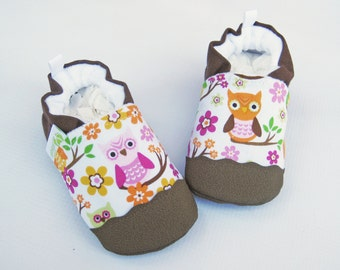 Classic Vegan Gretchen the Owl / Non-Slip Soft Sole Shoes / Made to Order / Babies Toddlers Preschool