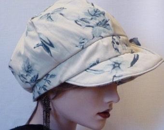 Sale item, ladies blue and cream fabric newsboy cap