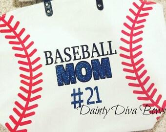 Baseball Mom Canvas Bag, Baseball Tote, Baseball Mom Bag, Large Tote Bag, Canvas Bag