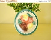 Royal Copley wall pocket vase, fruit wall pocket or planter, apple peach grapes, scalloped border, cottage, mid-century or diner kitchen