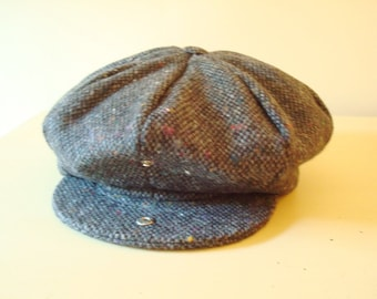 Newsboy cap, black & grey Irish tweed cap by Hanna Hats, new with tag, size medium, made in Donegal Town Ireland, classic gift for men